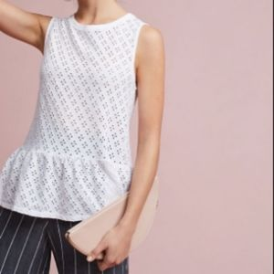 Anthropologie Three Dots eyelet peplum tank top